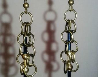 Bronze metal hoop bead dangly earrings
