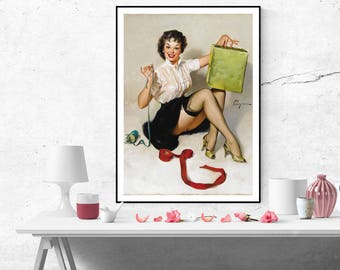 Gil Elvgren Pinup Girl Wrapping Presents/Gifts Vintage Art Poster Print Canvas Wall Art Painting Retro poster pin up Home decor sizeA2/A3/A4