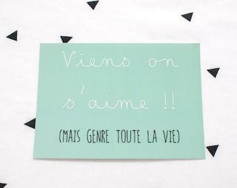 Postcard * come we love... * - Green -