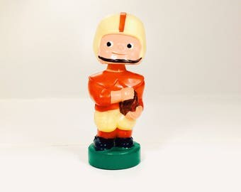 Vintage Football Player Boy Kid Bobblehead Nodder Doll Piggybank Red Uniform Plastic Dan Brechner Co. 1960s