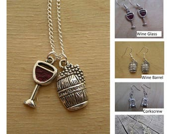 Wine Glass + Wine Barrel Necklaces ... Earrings Set ... Grapes ... Boho Indie Urban Bohemian ... Empowering Jewelry Youths