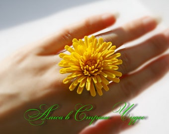 Ring yellow dandelion Yellow flowers Ring flowers Ring yellow flowers Dandelion cold porcelain Gift for her Yellow wedding ring Jewerly