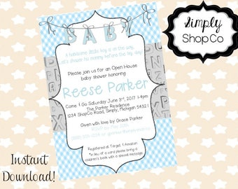 Blue Plaid baby shower invitations, invite, printable, you print, DIY instant download, editable baby shower template, blue, gray, baby boy.