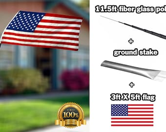 american flag pole complete set fiber glass 11.5ft pole ground stake