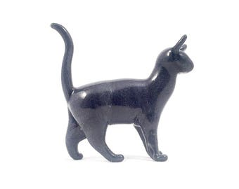 Grey Sparkling Cat - Glass Sculpture