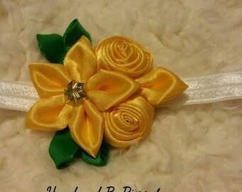 Yellow flower headband headwrap pisapelo cintillo de flor amarillo