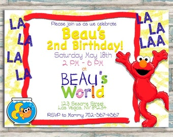 Elmo's World Birthday Invitation - Elmo - ANY AGE - Sesame Street Invite
