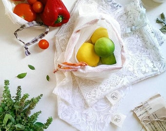 4 x Reusable Produce Bags - Various Sized Bags