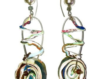Round circle spiral dangle drop earrings blue white green gray earrings fluorescent acrylic paint sterling silver crystals