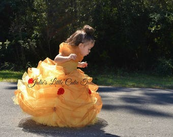 Princess Bell Tutu Dress /Disney Character /Glitter tulle /Disney event /Halloween /Birthday Gift /Playing Dress Up/ Handmade/ Bell
