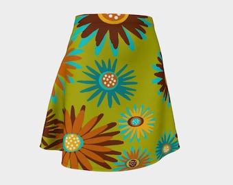 Retro, Skirt, Green,  Gift, Skirt For Women,  Flowers, Wife Gift, Gift, Brown, A-Line Skirt, Womens Gift, Unique,  Girlfriend Gift