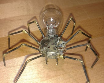 Steampunk Spider made from recycled watch.