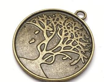 2pcs. 30mm settings pendant, Tree of life