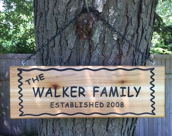 Personalized Custom Made Carved Family and Last Name Cedar Wood Camping Outdoor Rustic Sign Plaque