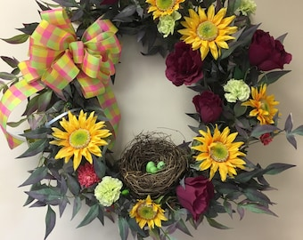 sunflowers, birds nest, summer wreath, indoor wreath, grapevine, spring wreath
