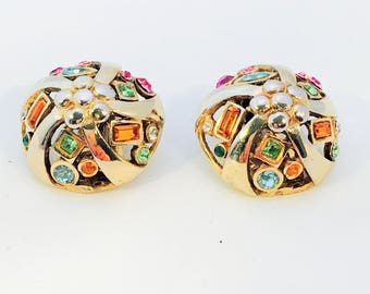 Vintage gold plated silver Clip earrings with krital