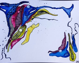 Watercolor  & Ink : Painting // fever 103 // home decor // art // abstract // gift