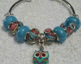 Handmade European Style Owl Bangle Bracelet Murano Lampwork Glass Beads