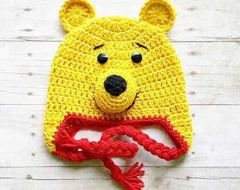 Crochet Pooh Bear Hat Beanie Winnie The Pooh Newborn Baby Infant Toddler Child Adult Handmade Photography Photo Prop Baby Shower Gift