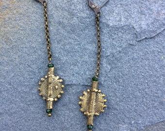 "Sunburst Earrings Hand-Cast Bronze ""poid Baoulé"""