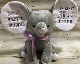 Birth Announcement Cubbie - Birth Announcement Elephant - Birth Stat Cubbie - Birth Stat Elephant