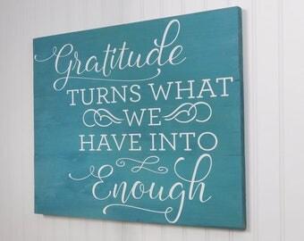 Gratitude Sign - Gratitude Teal Wood Sign -Rustic Gratitude Sign -  Home Decor - Inspirational Wood sign - Wall Art - New Homeowner Gift