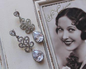 Art Deco Earrings , Vintage Style Crystal Earrings, Bridal Earrings,  Wedding Earrings,  Crystal Drop Earrings,  Stud Earrings