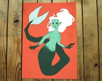 Red Lagoon - A5 OR A4 digital art print - mermaid - sea creature - ocean
