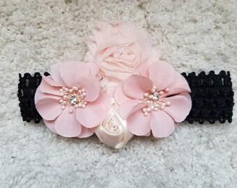Black pink flower headband