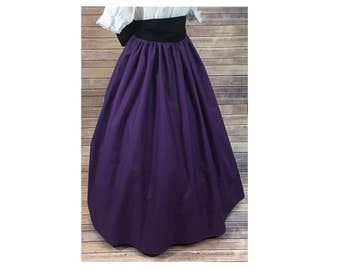 Skirt and Sash - Renaissance Civil War Victorian Southern Belle LARP Cosplay Dickensonian Pioneer - purple - dress costume