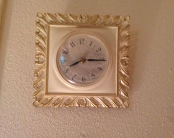 Wooden Wall Mounted Clock with Ivory/Gilt Paint