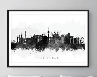 Las Vegas Skyline, Las Vegas Nevada Cityscape Art Print, Wall Art, Watercolor, Watercolour Art Decor [SWLAS05]