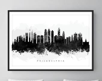 Philadelphia Skyline, Philadelphia Pennsylvania Cityscape Art Print, Wall Art, Watercolor, Watercolour Art Decor