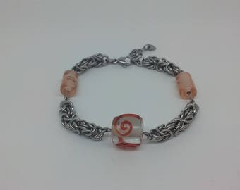 Byzantine Bracelet with Lamp work Beads, Chainmaille Jewellery, Chainmaille Bracelet, Handmade
