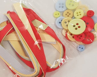 Button and Ribbon Embellishment Pack