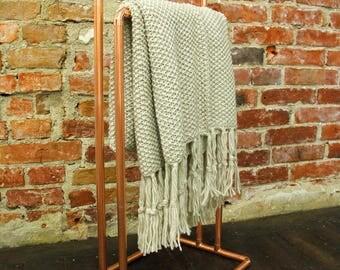 Standing Copper Blanket Stand / Towel Rack