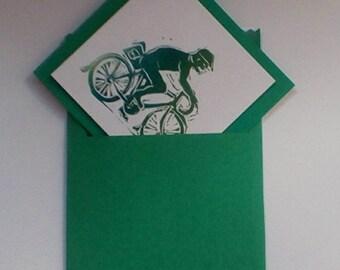 Single card 'cyclist' Green