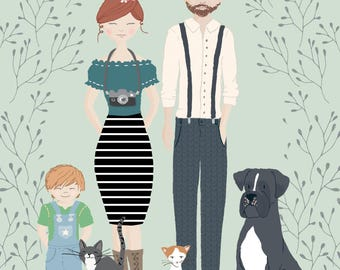 Custom Illustrated Family Portrait *DIGITAL DOWNLOAD*