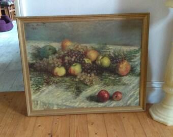 Vintage retro framed print Claude Monet still life of fruit