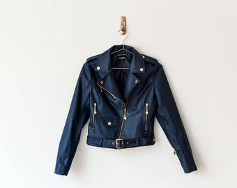 New Handmade Navy Blue Faux Leather Women Jacket