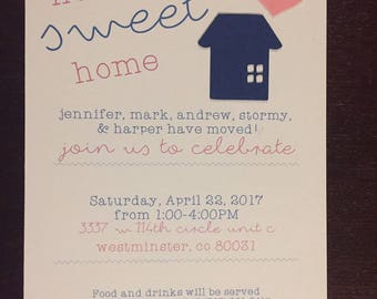 Home Sweet Home Open House Party Moving Announcement