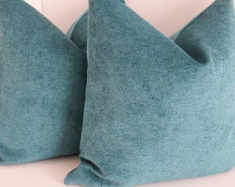Chenille Turquoise Pillow Cover- Turquoise Pillow Cover- Elegant Pillow Cover- Chenille Pillow- Aqua Pillow Cover- Teal Pillow