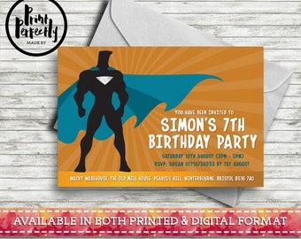 Boys Superhero Landscape - Luxury Childrens Customised Birthday Party Invitations (Printed & Digital)