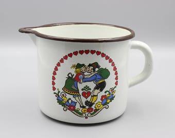 Austrian vintage enamel can, enamel jug, Austrian enamel, milk jug, enamel can, enamel cookware,Tyrolean design, country , shabby, Tyrolean