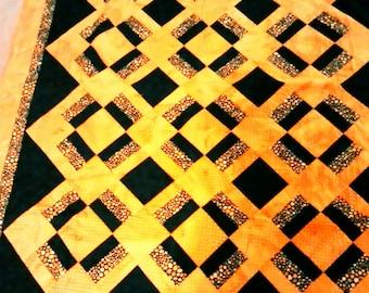 Lap quilt  orange and black