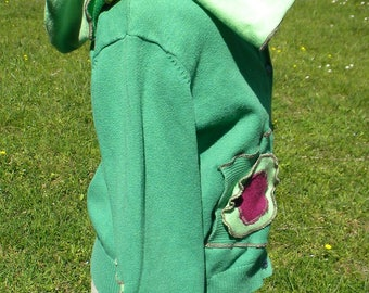 Green and yellow patchwork to hood and flower girl jacket
