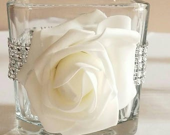 Square glass vase decorated with an open rose and bling . Can be used as Candleholder or centerpiece