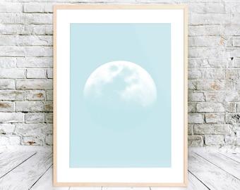Printable Blue Moon Wall Decor, Full Moon Wall Art, Full Moon Poster, Printable Moon Art, Full Moon Art Print, Moon Poster, Full Moon Print