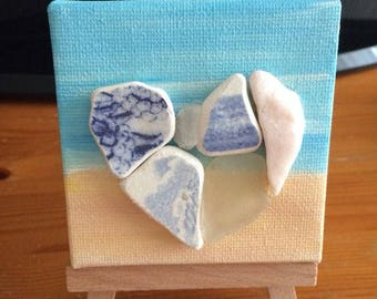 Heart shaped seapottery and seaglass beach canvas (small)