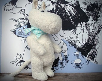 Moomintroll OOAK Artist Teddy Bear Collectible Interior Vintage Plush Fully Jointed  Handmade Fairy Toy